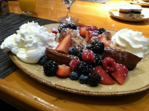 Yummy French toast with berries is a nice splurge at Pierre Gourmet but there also are good egg dishes if cutting carbs.