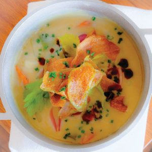 Santo Cielo dishes like tie scallop chowder with glazed carrots and roasted leeks are heavenly.