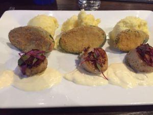 Scallops, zucchini and garlic mashed potatoes at The Chocolate Sanctuary in Gurnee.