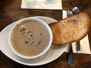Mushroom soup at That Little French Guy in Highland Park, IL. (J Jacobs photo)