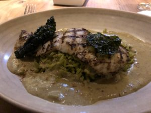July dinner entree of featured fish (halibut) with green sesame pipián at Frontera Grill. (J Jacobs photo)